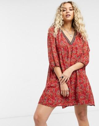 Vila boho smock dress in red print