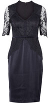 Catherine Deane Belted Lace-Paneled Satin Dress