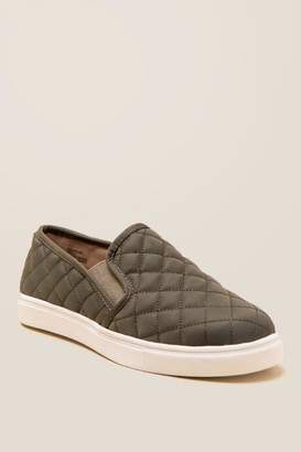 francesca's Lauren Quilted Slip On Sneaker - Dark Olive