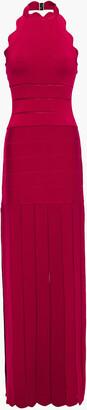 Herve Leger Pointelle-trimmed Scalloped Bandage Halterneck Maxi Dress