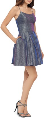 Betsy & Adam Galaxy Glittery Fit & Flare Dress