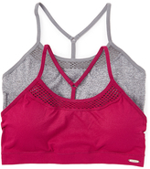 XOXO Pink & Gray Racerback Sports Bra Set