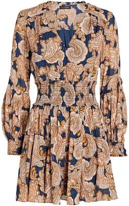 Intermix Dorinda Smocked Paisley Mini Dress