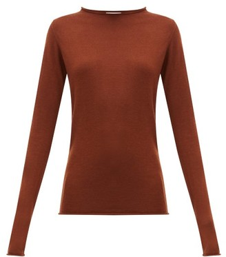 Raey Sheer Raw-edge Crew-neck Cashmere Sweater - Womens - Dark Orange