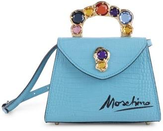 Moschino Jewel-Embellished Croc-Embossed Leather Top Handle Bag