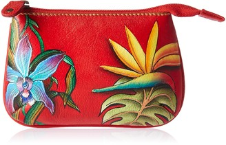 Anuschka Womens Leather Coin Purse - Hand-painted Original Art - Island Escape