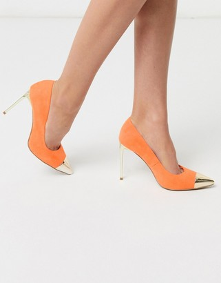 ASOS DESIGN Paige stilletto court shoes with toe cap in orange