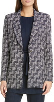 St. John Stepped Wicker Inlay Knit Jacket