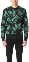 Ami Flower Print Crew Neck Sweatshirt