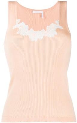 Chloé Lingerie lace-insert tank top