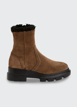 Aquatalia Kyla Suede Shearling Lug-Sole Booties