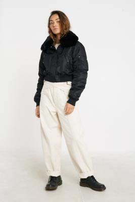 Urban Outfitters Iets Frans... iets frans. Nova Faux Fur Collar Bomber Jacket - black XS at