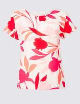Marks and Spencer Floral Print Round Neck Short Sleeve Top