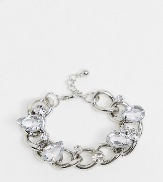 ASOS DESIGN Curve bracelet in curb chain with crystal embellishment in silver tone