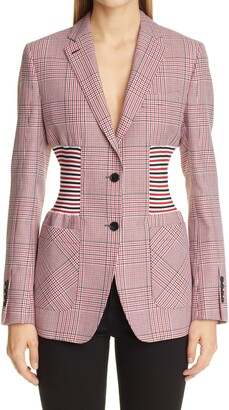 Burberry Ainslee Stripe Panel Houndstooth Wool Blazer