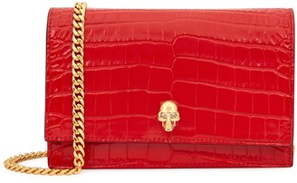 Alexander McQueen Red mini crocodile-effect leather cross-body bag