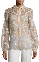 Gabriela Hearst Selene Floral-Embroidered Silk Blouse, Blush
