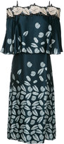 Yigal Azrouel leaf print off-shoulder dress - women - Cotton/Polyester/Viscose - 2