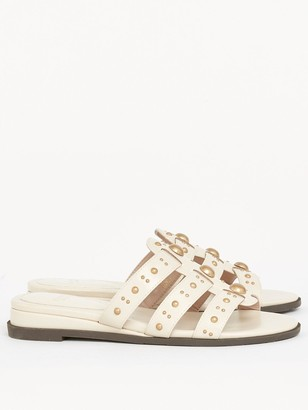 Evans Extra Wide Fit Studded Sliders - Ivory