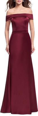 La Femme Off-the-Shoulder Short-Sleeve Satin Gown w/ Flared Skirt
