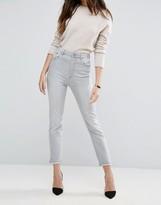 Asos Farleigh High Waist Slim Mom Jeans in Smokey Falls Gray Wash