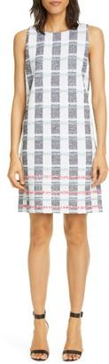 St. John Stripe Tweed Knit Shift Dress