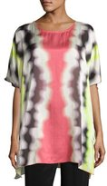 Caroline Rose Watercolor Waves Short-Sleeve Caftan, Plus Size