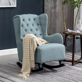 Red Barrel Studio Dusharme Rocking Chair Fabric: Gray Polyester Blend