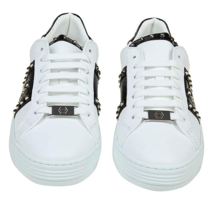 Philipp Plein Lo-top Leather Sneakers With Studs And White Color