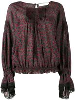 Chloé printed lace-trim blouse - women - Silk - 36