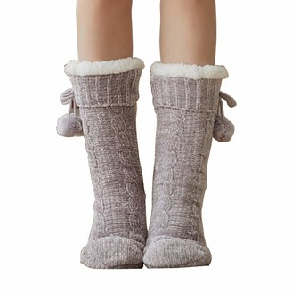 Camelliass Fluffy Slipper Socks with Pom Pom Women Non Slip Fleece Lined Slipper Socks