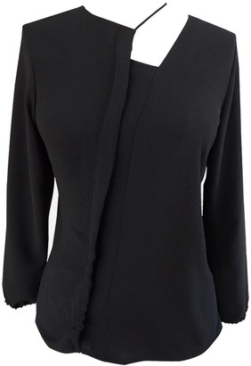 Not Long Sleeve Black Blouse With Asymmetric Cord Detail