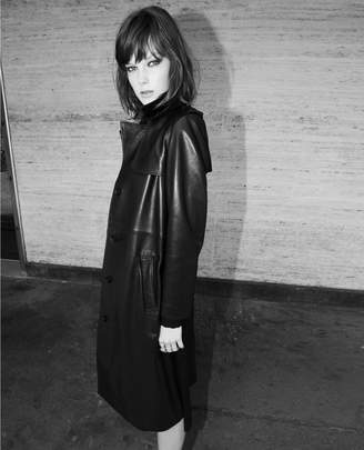 The Kooples Black leather trench coat