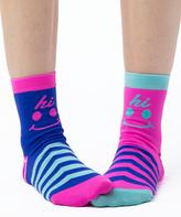 LittleMissMatched Turquoise 'Hi Bye' Anklet Socks Set