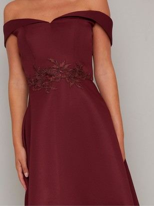 Chi Chi London Simera Bardot High Low Dress - Burgundy