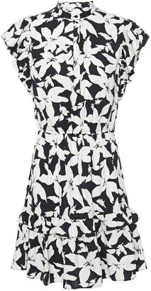 Joie Krystina Ruffle-trimmed Printed Crepe De Chine Mini Dress