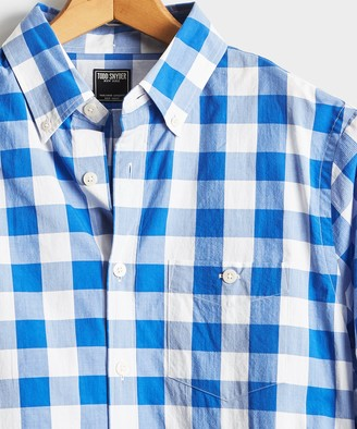 Todd Snyder Button Down Collar Gingham Long Sleeve Shirt