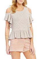 Copper Key Ruffle Cold Shoulder Rib Knit Short-Sleeve Tee