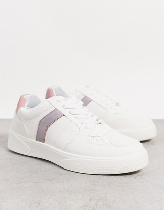 Topshop sneakers with lilac panel in white