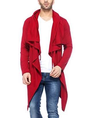Easyvibe Men's Full Sleeve Hooded Neck Waterfall Cotton Blend Cardigan