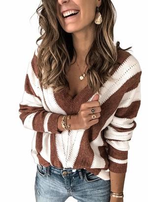 Dearlove Women's Open Front Cardigans Striped Color Block Loose Knit Sweaters Outwear Coat Plus Size