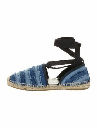 Jimmy Choo Printed Raw-Edge Trim Espadrilles Blue