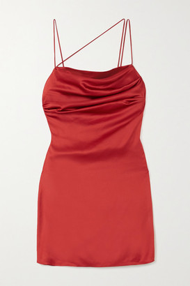 De La Vali Frisco Draped Satin Mini Dress - Claret