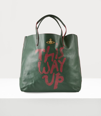 Vivienne Westwood This Way Up Leather Shopper Green
