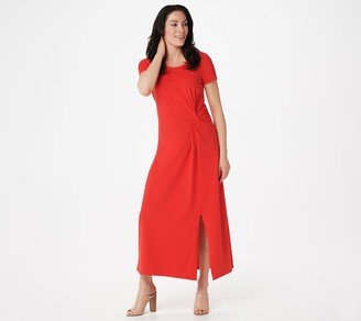 Halston H by Regular Short-Sleeve Twist Front Maxi Dress