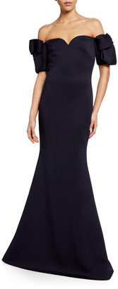 Badgley Mischka Off-the-Shoulder Elbow-Sleeve Scuba Trumpet Gown