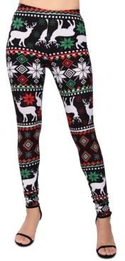 Planet Gold Juniors' Printed Reindeer Holiday Leggings