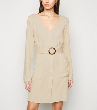 New Look NA-KD Belted Long Sleeve Dress