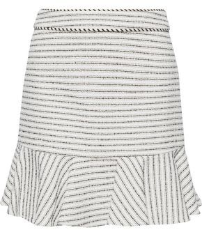 Veronica Beard Millie Ruffled Striped Cotton-blend Tweed Mini Skirt
