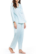 Miss Elaine Petite Paisley Brushed-Back Satin Pajamas